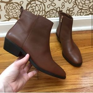 Coaches brown leather booties